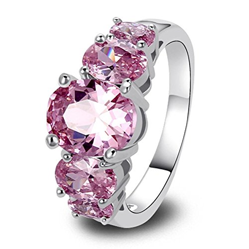 [Psiroy Women's 925 Sterling Silver 5cttw Pink Topaz Filled Ring] (Pink Lady Costume Images)
