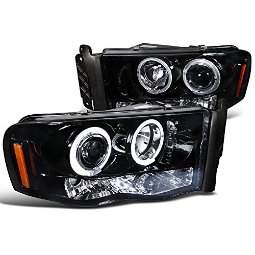 Spec-D Tuning 2LHP-RAM02G-TM Dodge Ram 1500 2500 Smoked Led Halo Projector Head Lights (Dodge Ram 1500 Smoked Headlights compare prices)