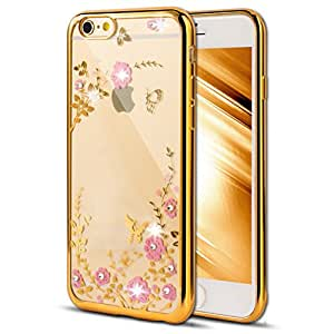 """6S Case,iPhone 6 Case,EMAXELER Bling Swarovski Crystal Rhinestone Diamond Case for iPhone 6S,Following From Electroplating Process Flexible TPU Case for iPhone 6/6S(4.7"""")Butterfly & Pink flowers[Gold]"""
