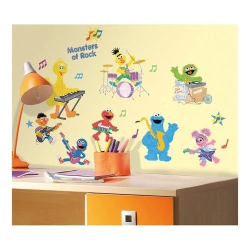 sesame street wall stickers 36pc elmo rock n roll decals electronics audio audio players. Black Bedroom Furniture Sets. Home Design Ideas