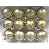 Queens Of Christmas WL-ORN-12PK-SPL-SVG 12 Pack Ball Ornament With Silver Spiral Design, Gold