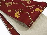 半巾帯 小袋帯 両面長尺細帯 猫柄 (臙脂)