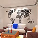 Ab 95 English letters map of the world wall stickers