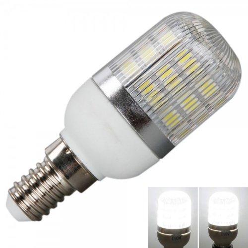 New E14 5W 110V Light Lamp Bulb 400Lm Lumen 6000K White Corn Shape Bulbs With Silver Side Stripes Cover