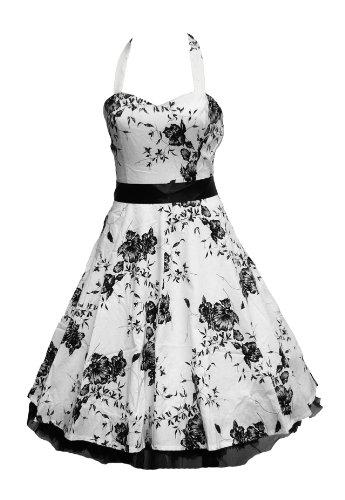 50's Dress Halterneck White & Black Floral -