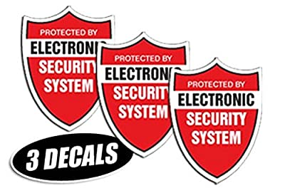 3 PACK - SECURITY SYSTEM DECALS sticker decal label video warning cctv camera alarm
