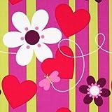 Free Spirit Hallmark Valentine Butterfly Stripe Red Fabric by the Yard