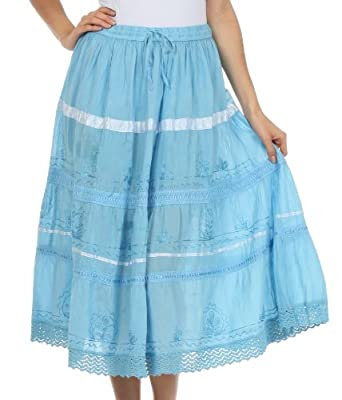 AA554M - Solid Embroidered Gypsy / Bohemian Mid Length Cotton Skirt - Blue/One Size