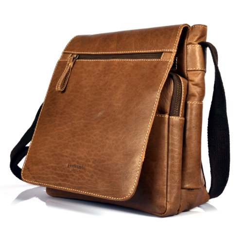 HYDESTYLE Organizer Cross-Body Messenger A5 Bag in Distressed Leather Style UM-7000C Tan