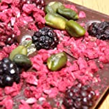 Ilze's Chocolat Dark Chocolate Bar with Pistachio Nuts and lots of freeze dried raspberry and blackberry pieces - 135g