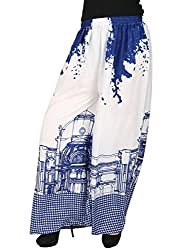 Vastraa Fusion Women Blue Arch Printed on White Base Cotton Palazzo