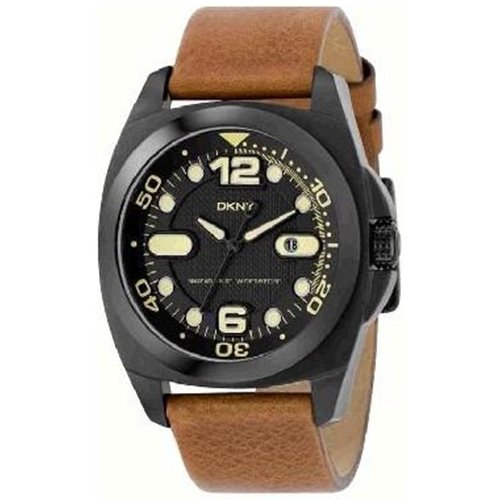 DKNY Men's NY1435 Brown Leather Quartz Watch with Black Dial