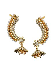 Surat Diamonds Floral Shaped White Faux Pearl & Gold Plated Ear Cuffs With Zumki For Women (PSE79)