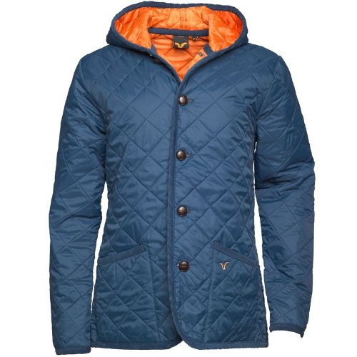 Voi Jeans Mens Queeny Quilted Hooded Jacket Navy