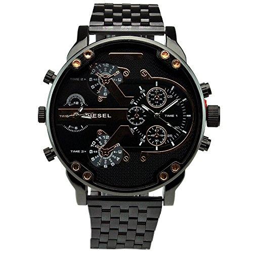 Wogkok (汪角) 多機能 特大スポーツクォーツメンズ腕時計 重み手触りが  ステンレス鋼 p-diesel-w138 (ブラック)