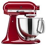 KitchenAid Artisan 5KSM150PSDER 10 Speed 4.8 Litre (5Qt) 300 Watt Tilt Head Stand Mixer with Flat Beater, Dough Hook, Whisk, Stainless Steel Bowl & Pouring Shield (Empire Red)