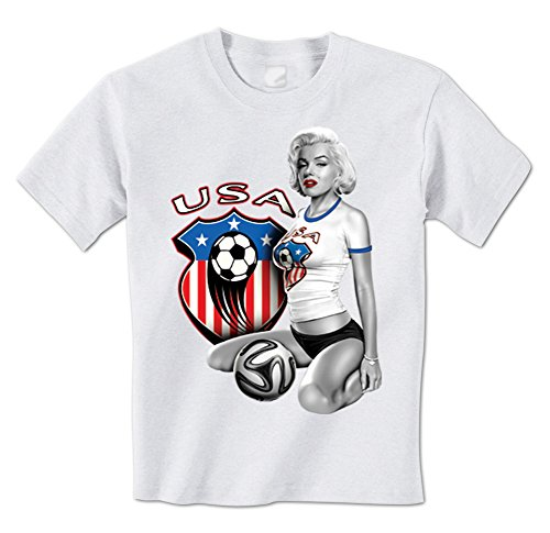 Marilyn Usa America World Cup Soccer Crest Sexy Mens T-Shirt Xl White