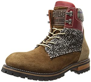DSQUARED2 Men's Tweed Hiker Boot,Velour/Cuoio,45 EU/13 M US