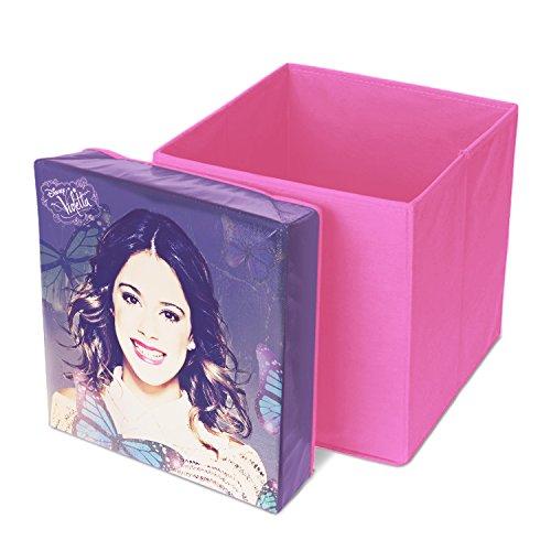 Lot de 2 pouf de rangement tabouret pour enfant coffre à jouets pliable VIOLETTA DISNEY 31X31x33cm neuf