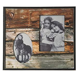 Wilco Imports  Rustic Wood Plank Motif Wood Frame