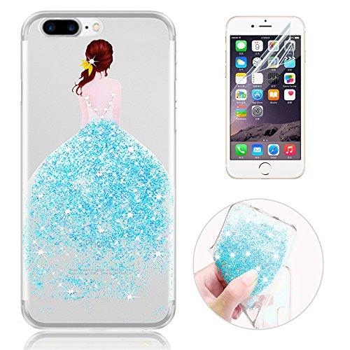 Sunroyal® Custodia iPhone 7 plus Silicone, Case Cover per iPhone 7 plus in TPU Silicone, Ultra sottile Trasparente Morbido Glitter Bling Case Cover iPhone 7 plus 5.5 pollici, Blu