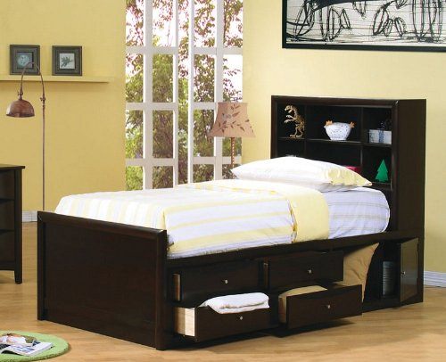 Full Size Bookcase Chest Bed In Cappuccino Finish front-1041750