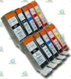 10 Chipped Compatible Canon Pixma PGI-525 & CLI-526 Ink Cartridges for Canon Pixma MX885
