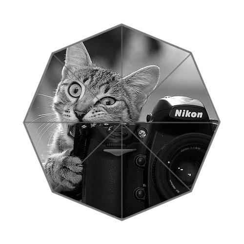 Generic Custom Cute Cat Bite Camera Printed Auto Foldable Sunny Rainy Umbrella 100% Polyester front-947692