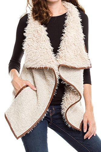 klkd-womens-solid-shearling-contrast-open-drapey-vest-beige-large