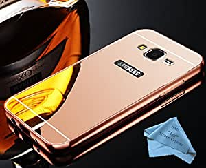 CZap Mirror Back Metal Bumper Cover Luxury Case for Samsung Galaxy Grand Prime - Rose Gold
