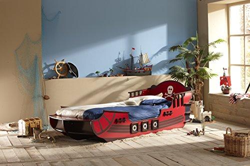 Demeyere-249501-Piraten-Bett-Crazy-Shark-MDF-90-x-190-200-cm-rot