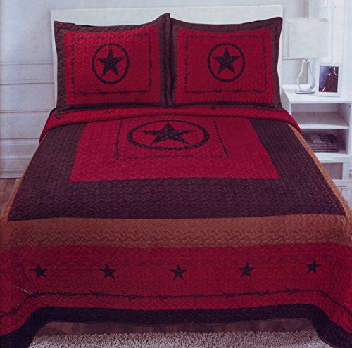 Western Star Barbed Wire King Size Quilt and Shams 3pc Set Maroon