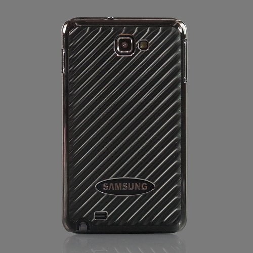 ZuGadgets Black Sparkling Stripe Premium Plastic + Metal Backside Protective Case Cover Shell for Galaxy Note i9220 / GT-N7000 (7673-8)