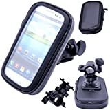 Waterproof Rotating Bicycle Bike Mount Handle Bar Holder Case For Mobile Phones - Nokia Lumia 610 - Black