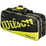 ウィルソン バッグ ツアー レクタングル 3 (ラケット6本収納可能)73.7×17.8×34.3cm/ブラック×ライム(WRR614400)