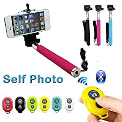 Rebel Most Popular Selfie stick with Bluetooth remote 3 IN 1 Monopod Extendable Selfie Handheld Stick with Adjustable Phone Holder and Bluetooth Wireless Remote Shutter for iPhone, Samsung and Other andriod System (Color may vary)