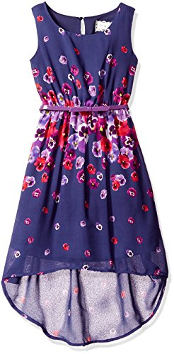 BTween Big Girls' Hi Low Chiffon Dress with Belt, Navy Floral, 12