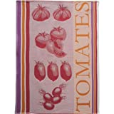 Coucke French Jacquard Cotton Kitchen Dish Towel Produce Collection, Tomato FB Pattern, 19 by 29-Inch, Red