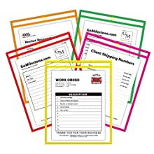 C-Line CLI43920 Shop Ticket Holders, 9 x 12, Clear, Neon Stitching, 10 Per Pack