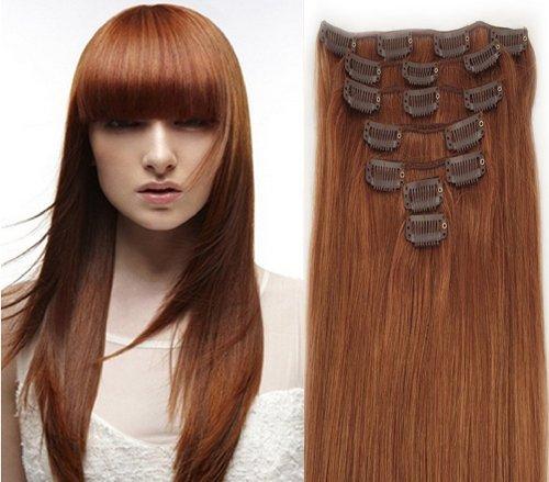 Clip-In-Extensions für komplette Haarverlängerung - hochwertiges Remy-Echthaar - 70g - 38 cm -7tlg- Nr.30 rostbraun