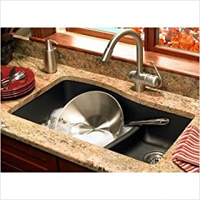 Granite Double Bowl Kitchen Sink Finish: Nero