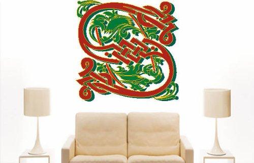 Imagen 2 de Etiqueta de la pared multicolor MF035 S ornamento o floral tribal maravilloso carta 120 x 117 cm