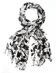 Indigo Collection Lightweight Washed Floral Paisley Print Scarf