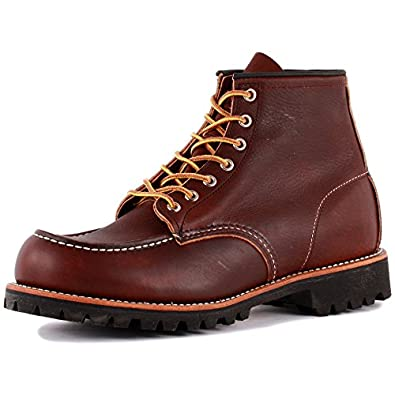 Red Wing Moc Lug Mens Laced Leather Boots Dark Brown - 6