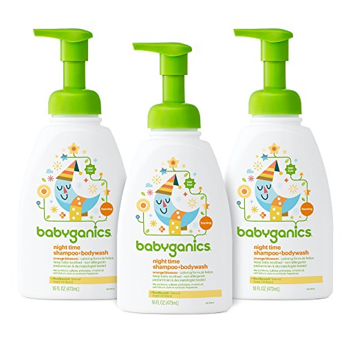 Babyganics Baby Shampoo + Body Wash, Orange Blossom, 16oz Pump Bottle (Pack of 3) Blossom Bath