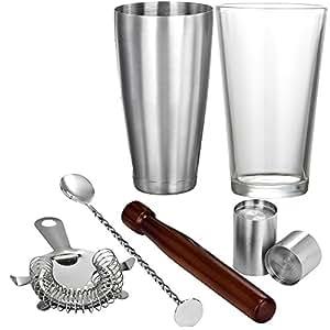 VonShef Ensemble de fabrication de cocktail Boston incluant un pilon en bois + une cuillère à mélanger + égouttoir à cocktail en aubépine + 2 x verres mesureurs + un shaker 56 cl en acier inoxydable