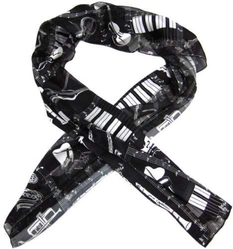 Black / White Musical Instrument Neck Scarf Music Notes
