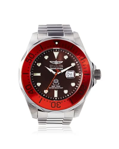 Invicta Men's 14658 Pro Diver Silver/Red/Brown Stainless Steel Watch