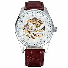 buy Sewor Men'S Retro Elegant Skeleton Self Wind Automatic Mechanical Wrist Watch Leather Strap-White