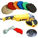"Custom Shop Heavy Duty Variable Speed Polisher with a Professional 6 Pad Buffing and Polishing Kit (5 Waffle Foam & 1 Wool Grip Pads) (5/8"" Threaded Grip Backing Plate Included with Polisher)"